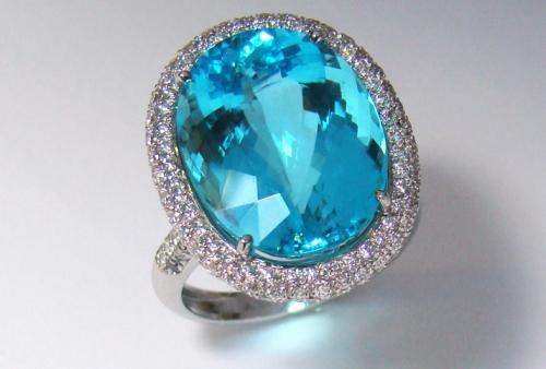 Anel pedra preciosa turmalina paraiba